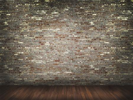 brick floor: brick wall with wood floor background