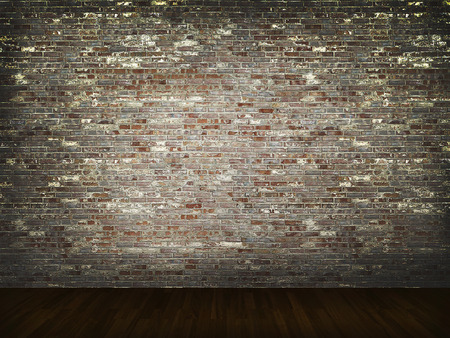 abandon: brick wall with wood floor background