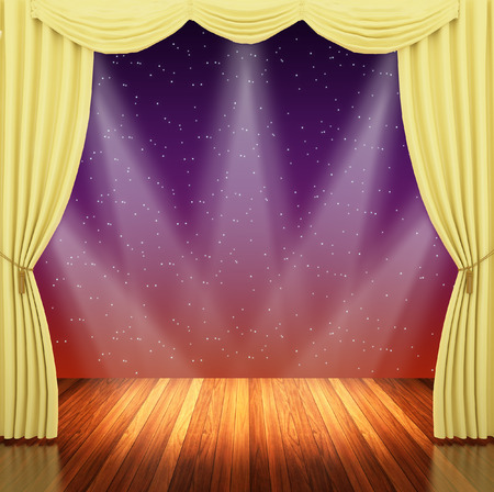 archiitecture: Stage with  yellow curtains and spotlight.