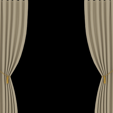 opera d 'art: light brown curtains on black background Stock Photo