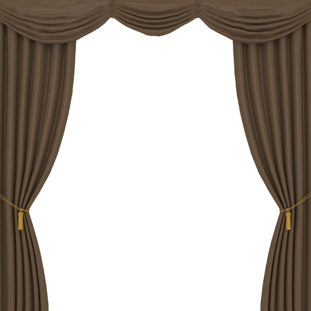 brown curtains on white background