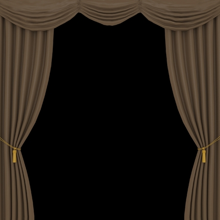 performing arts event: brown curtains on black background