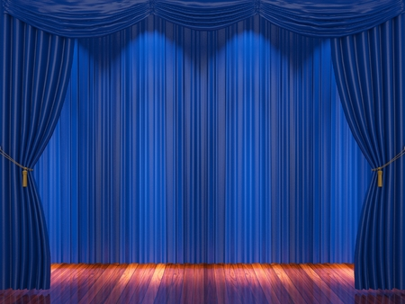 archiitecture: Stage with  blue curtains and spotlight.