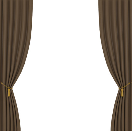 performing: brown curtains on white background