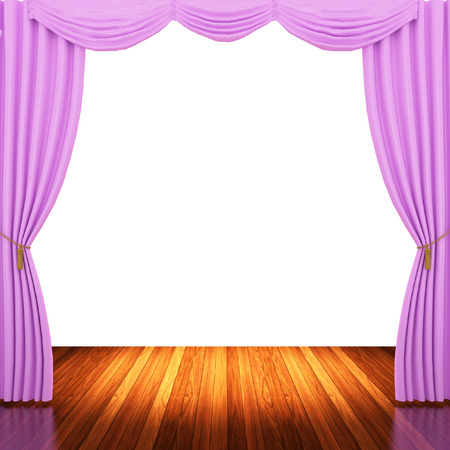 archiitecture: Stage with  pink curtains and spotlight.