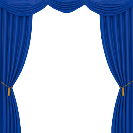 velvet rope: blue curtains on a black background Stock Photo