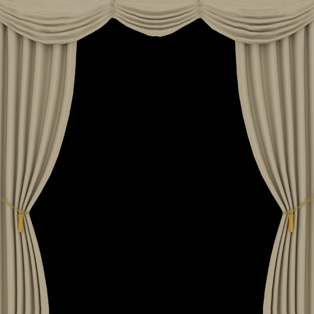 light brown curtains on black background Stock Photo