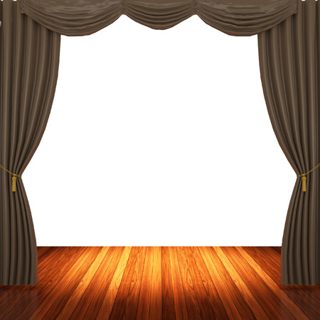 archiitecture: Stage with  brown curtains and spotlight. Stock Photo