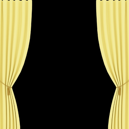 performing: yellow curtains on a black background