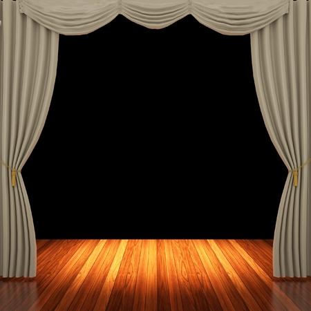 Stage con tende marrone chiaro e riflettori.