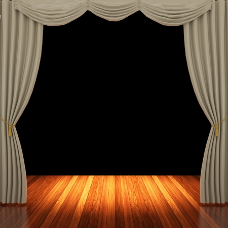 archiitecture: Stage with light brown curtains and spotlight.