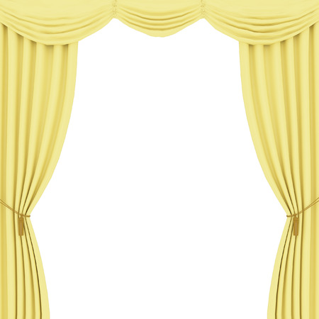 performing arts event: yellow curtains on white background Stock Photo