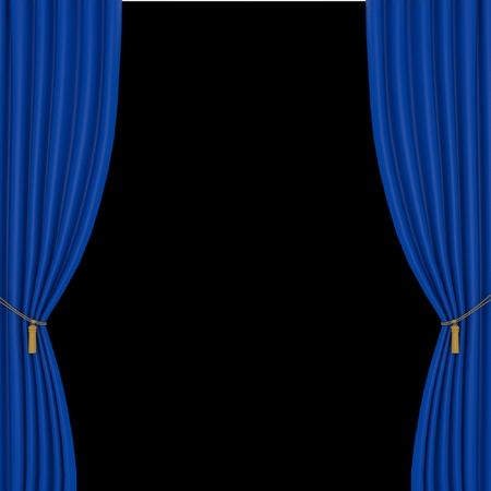 performing arts event: blue curtains on a black background Stock Photo