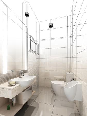bath room: abstract sketch design of interior bathroom Stock Photo