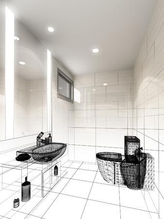 disegno astratto disegno di bagno interno