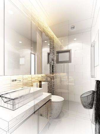 abstract sketch design of interior bathroom Zdjęcie Seryjne