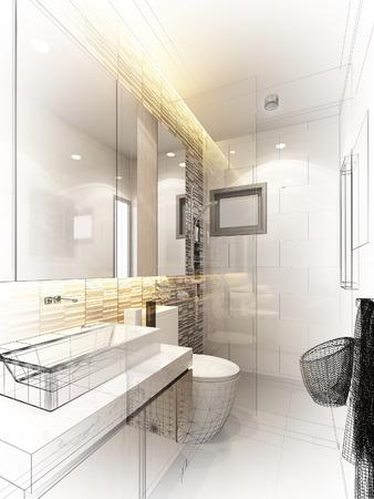 abstract sketch design of interior bathroom Standard-Bild