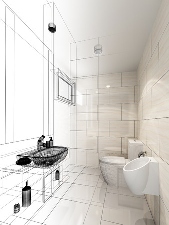 bath room: abstract sketch design of interior bathroom Stock Photo
