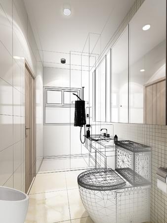 bathroom interior: abstract sketch design of interior bathroom Stock Photo