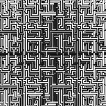 endless: top view of endless maze 3d illustration