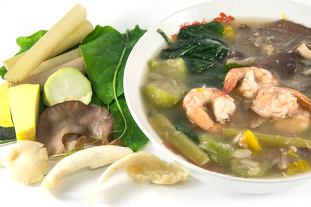 sod: Thai Spicy Mixed Vegetable Soup with shrimp, Kang Liang Goong Sod