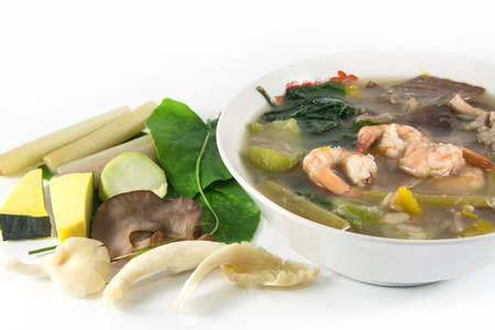 goong: Thai Spicy Mixed Vegetable Soup with shrimp, Kang Liang Goong Sod