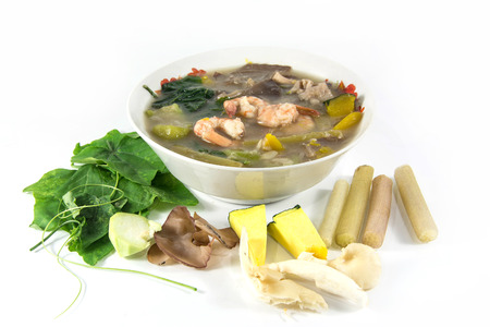 goong: Thai Spicy Mixed Vegetable Soup with shrimp, Kang Liang Goong Sod