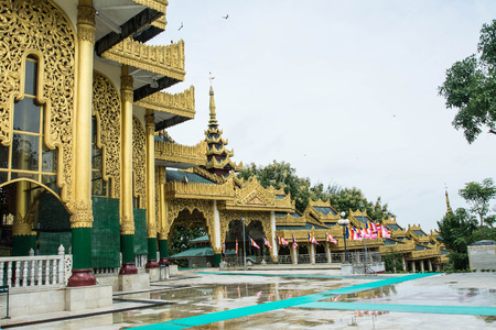 public domain: Temple Kyauk Taw Gyi Pagoda in Yangon, Myanmar Burma They are public domain or treasure of Buddhism Stock Photo