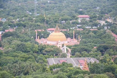 aisa: view from Soon U Pond Nya Shin Paya Pagoda,Sagaing hill , Sagaing City, The Old City of Religion and Culture Outside Mandalay, Myanmar. Stock Photo