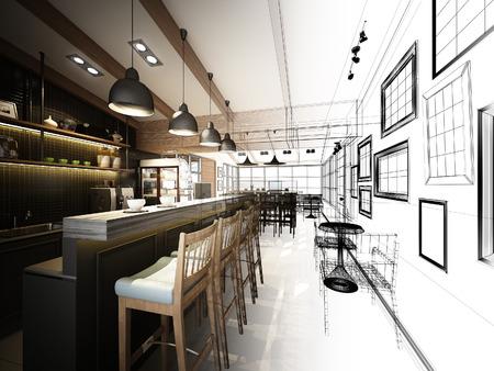 sketch design of coffee shop ,3dwire frame render