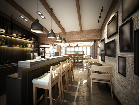 3d render of coffee shop ,3dwire frame render