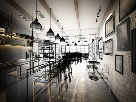 drawing room: sketch design of coffee shop ,3dwire frame render