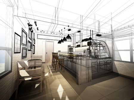 Sketch design of coffee shop 3dwire frame render stock photo sketch design of coffee shop 3dwire frame render photo malvernweather Image collections