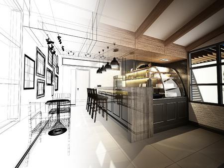 dessin: esquisse de caf�, cadre 3dwire rendre