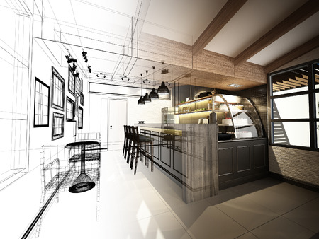 bar interior: sketch design of coffee shop ,3dwire frame render