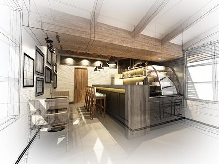 Esquisse de café, cadre 3dwire rendre Banque d'images - 43835173
