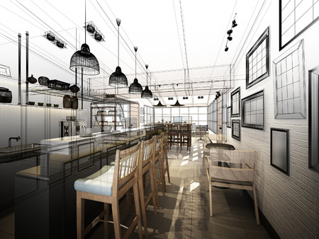 interior drawing: sketch design of coffee shop ,3dwire frame render