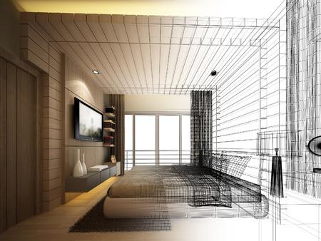Abstrakte Skizze Gestaltung von Innen Schlafzimmer Standard-Bild - 44148763