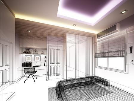 arquitecto: dise�o resumen boceto de un dormitorio interior Foto de archivo