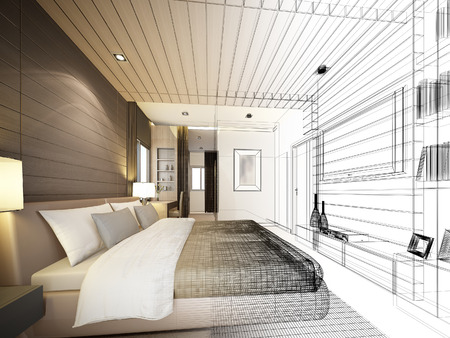 modern living room: abstract sketch design of interior bedroom