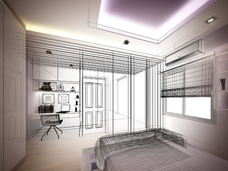 interior window: abstract sketch design of interior bedroom