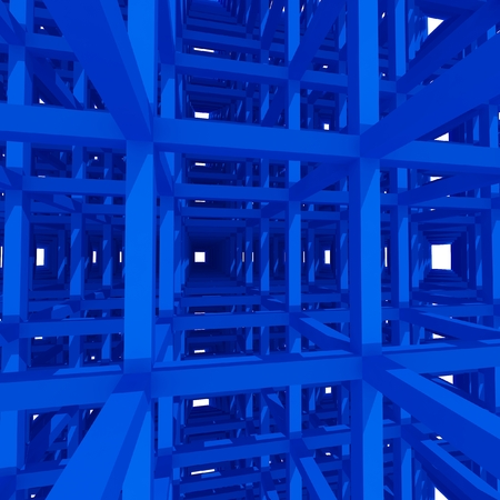 beam: 3d blue columns and beam ,architecture background. Stock Photo