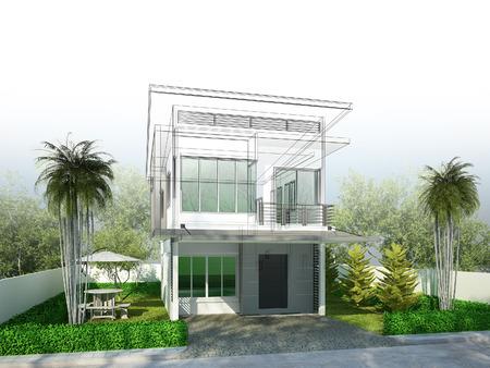3 dwire フレーム レンダリングの家のデザインをスケッチします。 写真素材