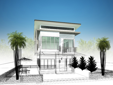 urban architecture: sketch design of house ,3dwire frame render