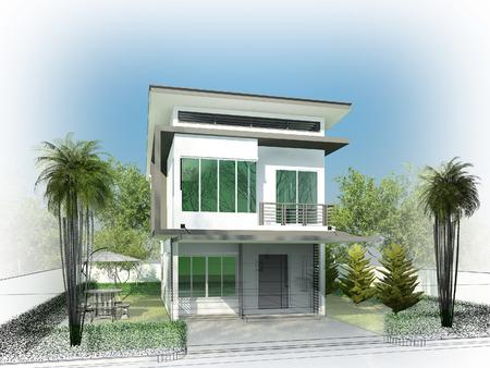sketch design of house ,3dwire frame render