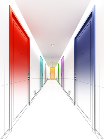 interior design: sketch design of interior hall Stock Photo