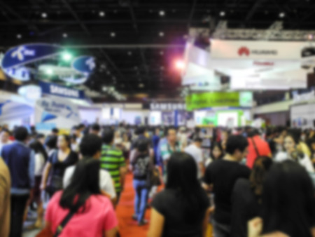 exhibition crowd: Abstract people walking in exhibition blurred background