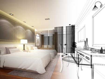 disegno astratto disegno di tra camera da letto