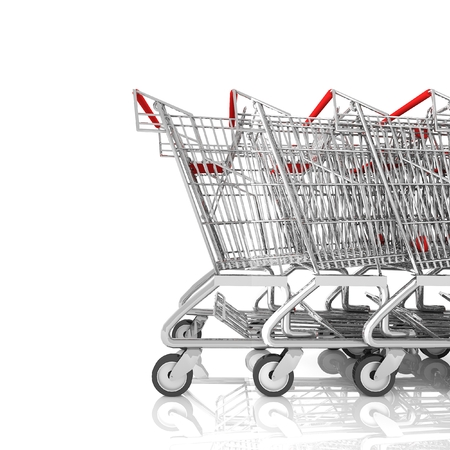 Shopping cart on a parking lot isolated on white,3d rendering