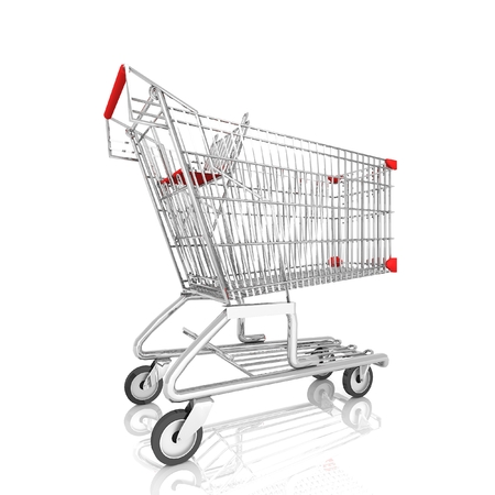 grocery shopping cart: Shopping cart isolated on white,3d rendering